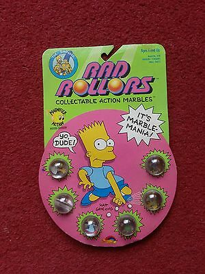 Vintage 1990 Simpsons Rad Rollors Marbles Still On Card Very Rare Good Condition