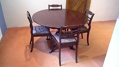 Mahogany Extending Round Dining Table And 6 Chairs