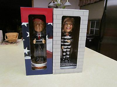 2016 Election Hillary for Prison & Donald Trump Bobblehead Set Limited Edition