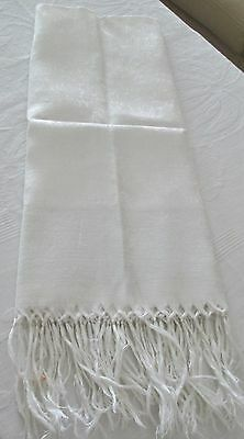Antique Linen Damask Fringed Show Towel White w/ Pale Green Band