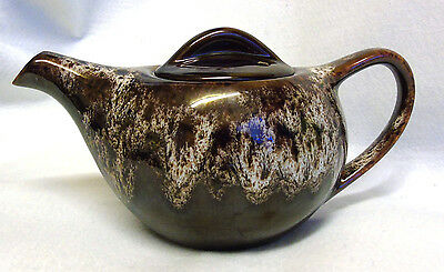 Small Oval Kernewek Pottery Teapot, Brown Glazed with Dripped Cream Pattern