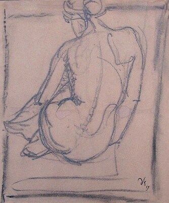 Duncan Grant,charcoal drawing,seated female nude,Bloomsbury