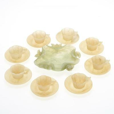 Group Of Chinese Jadeite Teacups, Saucers And Coupe Bowl