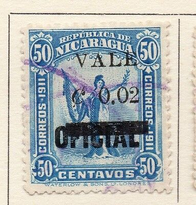 Nicaragua 1914 Early Issue Fine Used 2c. Surcharged 110990