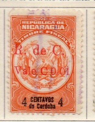 Nicaragua 1921 Early Issue Fine Used 1c. Surcharged 111024