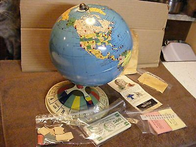 Vtg Org 1952 Replogle Magnetic Globe Air Race Game ( Complete With Pcs)