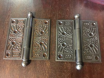 2 Cast Iron Ornate Victorian Door Hinges 4 Inches