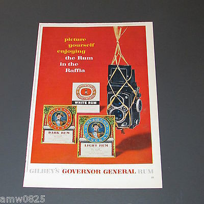 Gilbey's Governor General Rum 1962 Print Ad Canada Distillery Camera Labels