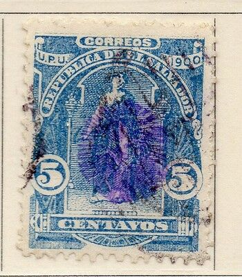 El Salvador 1900-01 Early Issue Fine Used 5c. Optd 111230