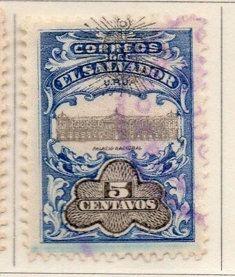 El Salvador 1907 Early Issue Fine Used 5c. Optd 111273