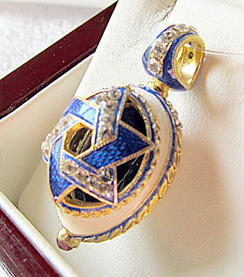Sale ! Beautiful Russian Sterling Silver Enameled Egg Pendant With Star Of David