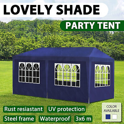 vidaXL Party Tent 3x6m Garden Canopy Marquee Gazebo Pavillion Wall White/Blue