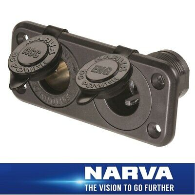 Narva HDRV Power Heavy-Duty 12/24V Twin Flush Mount  Accessory/Engel Sockets 811