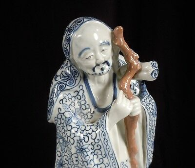 Chinese Blue & White Porcelain Figure / Statue of a Man 12""