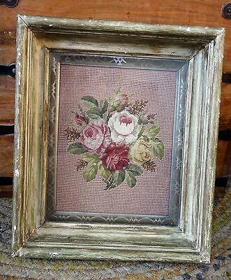 antique PETITE POINT CROSS STITCH ROSE SAMPLER deep well wood frame