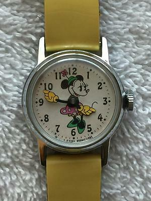 Nice Working Vintage Minnie Mouse Watch Walt Disney Productions Original Band
