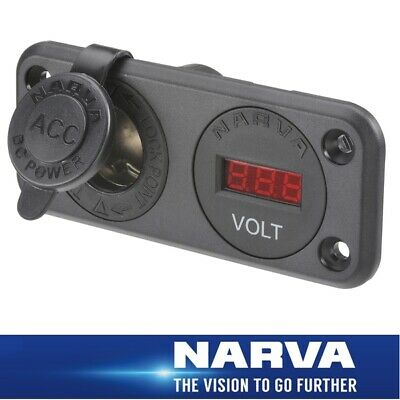 Narva HDRV Power Heavy-Duty 12/24V Twin Flush Mount Accessory Sockets/DC LED Vol