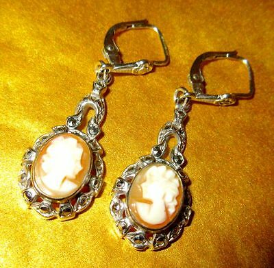 Hand Carved Shell Cameo Sterling Silver Marcasite Art Deco Vintage Earrings