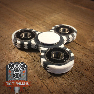EDC Double Colored Rings Tri Spinner Fidget Toy With Caps