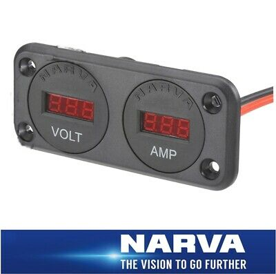 Narva HDRV Power Heavy-Duty Twin Flush Mount DC LED Volt / Amp Meters 81148BL