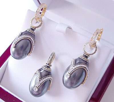 Sale ! Superb Egg Pendant & Earrings Set Sterling Silver 925 With  Pearl
