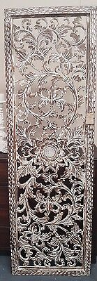 Handcarved Wooden Wall panel Floral Leaves Art Hanging Garden Natural 190 x 60