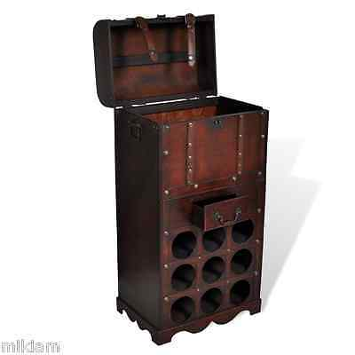 Wooden Wine Rack for 9 bottles Storage Trunk with Drawer Chest Bar Christmas