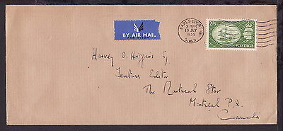UK GREAT BRITAIN 1955 EARLS COURT HIGH VALUE 2s6d KGVI STAMP on COVER to CANADA