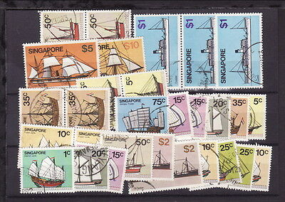 SINGAPORE 1980 DEFINITIVE SHIPS BOATS COMPLETE SET to $10 + EXTRA FINE U (L371)