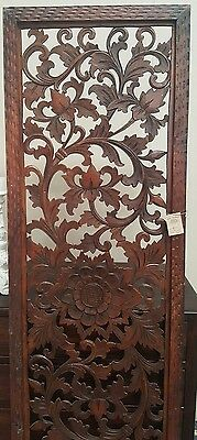 Handcarved Wooden Wall panel Floral Leaves Art Hanging Garden Chocolate 190 x 60