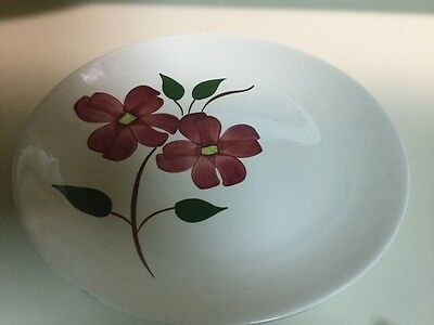 """Blue Ridge, Southern Potteries, 10"""" Dinner Plate Red Flower"""