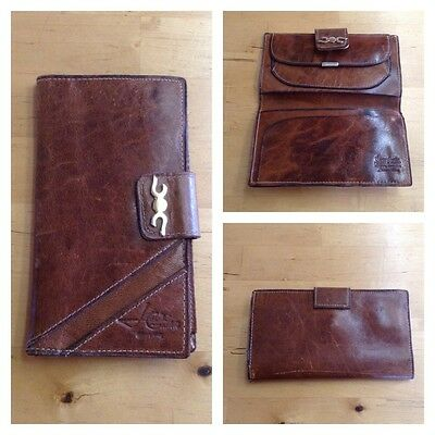 Vintage 70S Leather Wallet Checkbook Argentina Retro Boho