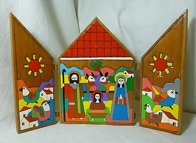 Nativity scene hand painted folding wood leather hinges el salvador