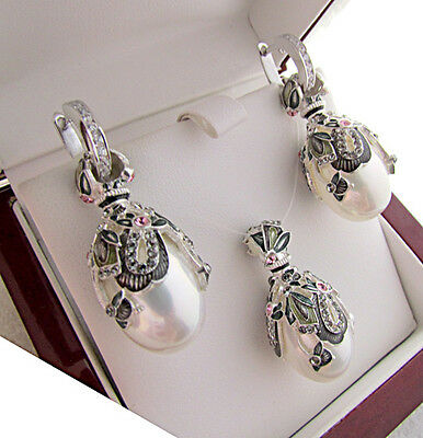 Stunning Egg Pendant & Earrings Set Solid Sterling Silver 925 With White Pearl