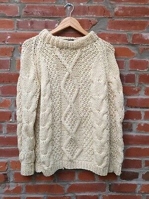 Vintage Fisherman Sweater Womens Off White Wool Cable Knit Bonds (1041)