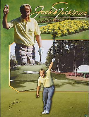 """Jack Nicklaus Autographed 44"""" x 33"""" 1986 Masters Canvas"""