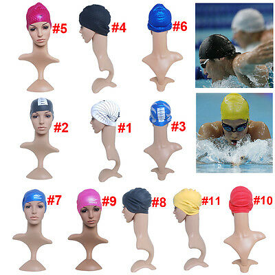 Unisex Adult Silicone Stretch Swimming Cap Durable Hat Waterproof Sporting Goods