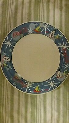 Set Of 4 Coca Cola Laughing Snowman Dinner Plates 10 Inch