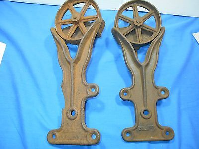 2  1900s Cast Iron Industrial Decor Door Or Barn Door Track Roller Hardware Set