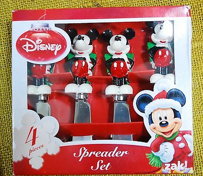 Mickey Mouse Christmas Spreaders Knife Set - Gift Behind Back - New
