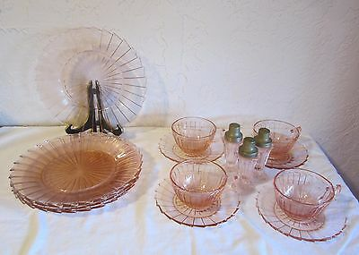 Sierra Pink Jeannette Depression Glass 5 Dinner Plates 4 Cups Saucers 3 Shakers