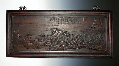 ANTIQUE CHINESE CARVED ZITAN WOOD PANEL Qing Dynasty Wang Ximeng Landscape Art
