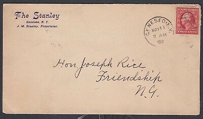 Usa 1910 Stanley Hotel Cover Geneseo To Friendship New York