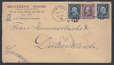 Usa 1897 Belvedere House Hotel Cover New York  To Dutzendteich Germany
