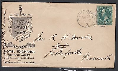 Usa 1881 Hotel Exchange Cover New York To  Pittsford Vermont