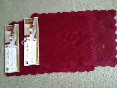 RED LACE set of 4 CHRISTMAS 12 by 18 inch TABLE PLACEMATS mint unused condition!