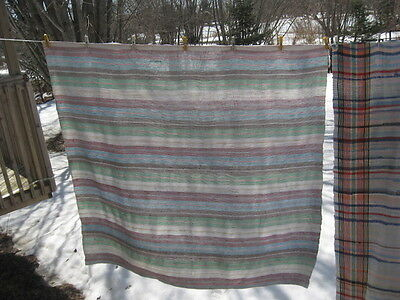 "#W9 VINTAGE BLANKET RAG WOVEN CATALOGNE cotton MATERIAL 68"" x 73.5""inches"