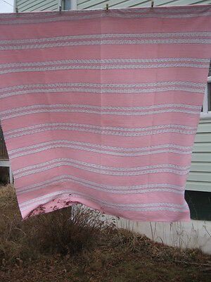 "#B2 VINTAGE BLANKET RAG WOVEN CATALOGNE cotton blend material new 84.5 "" X 102.5"