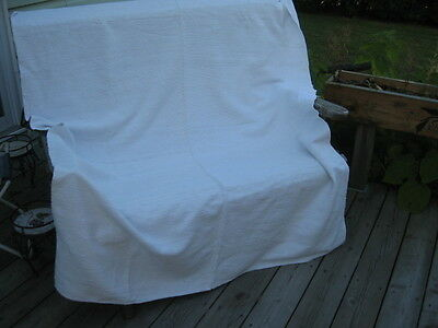"#367 VINTAGE BLANKET RAG WOVEN CATALOGNE cotton 54.5"" x 79.5"" inches"