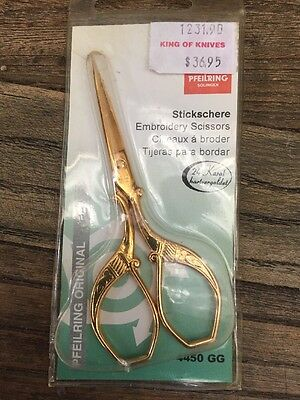 Pfeilring 4450GG Embroidery Scissors, Gold-Plated 3.54in (90mm)